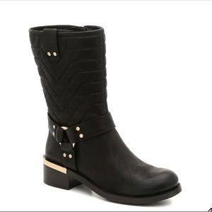 Vince Camuto Wadima black leather moto boots 7.5